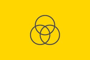 Three circles placed as a Venn diagram